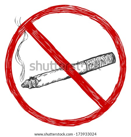 vector sketch illustration - no smoking sign - stock vector