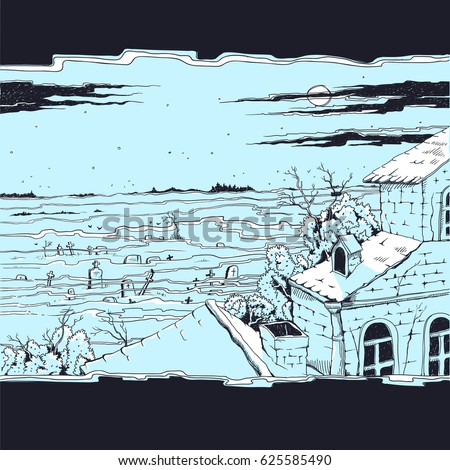 Vector Sketch Illustration Of A Spooky Landscape With Cemetery And Old Abandoned Gothic Mansion