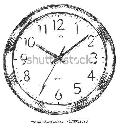vector sketch illustration - wall clock - stock vector