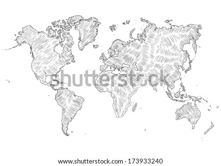 vector sketch illustration - world map silhouette - stock vector