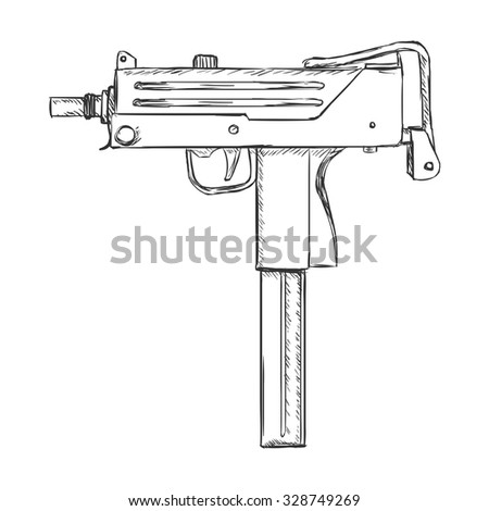 Vector sketch ingram machine gun