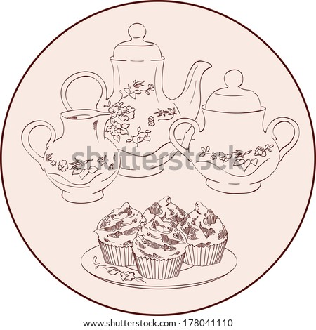 vector sketch instruments tea set and sweets