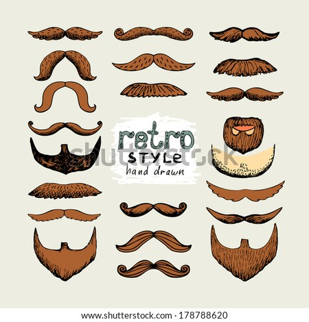 vector sketch mustaches and beards in retro style - stock vector