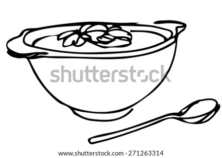 vector sketch of a bowl of soup with herbs and spoon lying next - stock vector