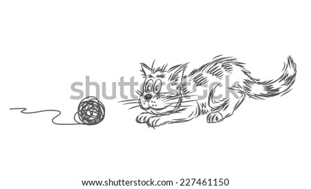 Vector sketch of a cat playing with clew - stock vector