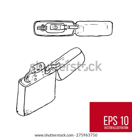 Vector sketch of a lighter for your design - stock vector