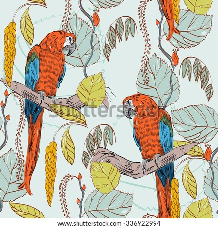 Vector sketch of a parrot with plants. Hand drawn illustration