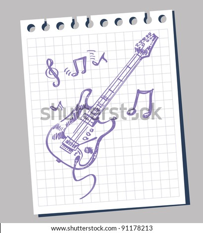 Vector sketch of an electric guitar - stock vector