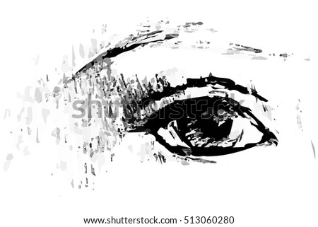 vector sketch of an open human eye