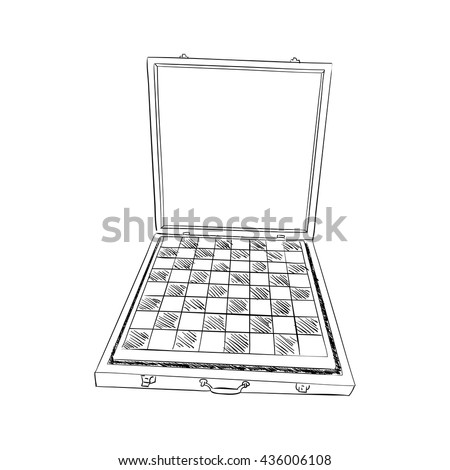 Vector sketch of box with Chess board. Hand draw illustration. - stock vector