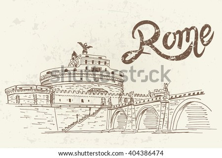 vector sketch of Castle Sant 'Angelo. Rome. Italy. Retro style.