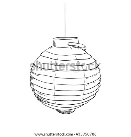 Vector sketch of chinese lantern. Hand draw illustration. - stock vector