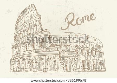 vector sketch of Coliseum. Rome. Italy. - stock vector