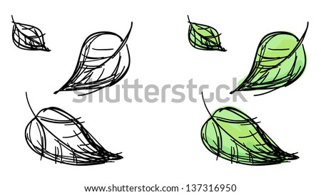 Vector sketch of falling leaves. Black and white and colorful green variants. - stock vector