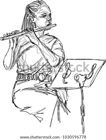Vector sketch of fascinating young woman  looking at sheet music while practicing flute, Asian woman wearing typical (traditional) red Thai dress