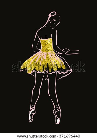 vector sketch of girls ballerina standing. gold texture - stock vector