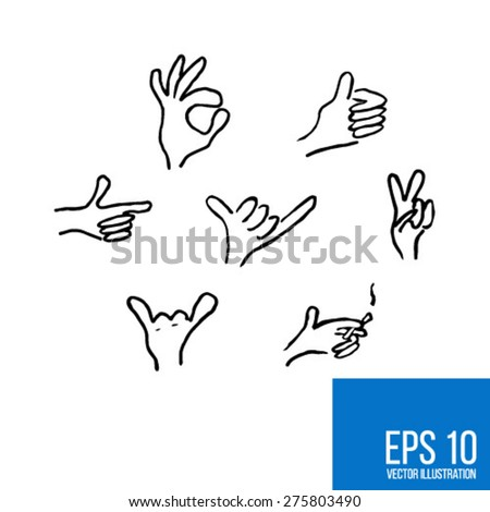 Vector sketch of hands showing figures with fingers for your design