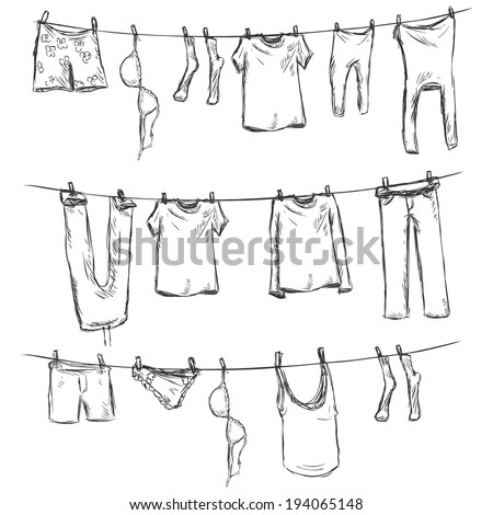 Vector Sketch of Laundry on a Rope - stock vector