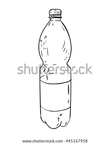 Vector sketch of plastic bottle. Hand draw illustration. - stock vector