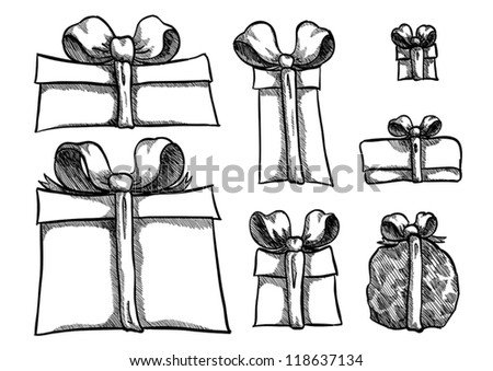 Vector sketch of present boxes in many styles - stock vector