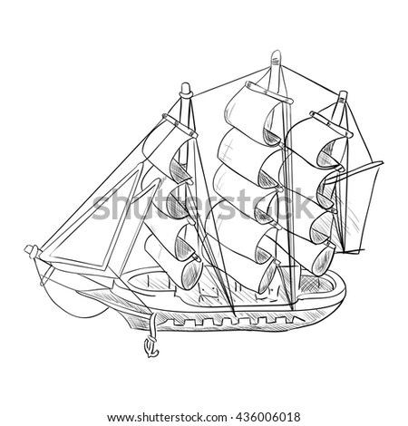 Vector sketch of ship model. Hand draw illustration.