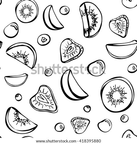 Vector sketch of summer fruit. Seamless pattern. Fruit salad ingredients in the air. Kiwi,cherry,strawberry,peach and blueberry isolated on white background