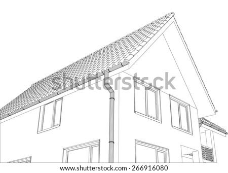 Vector Sketch Of The Cottage With A Roof Illustration