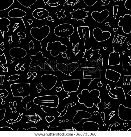 Vector sketch pattern with white speech bubbles on black background. Seamless pattern can be used for wallpaper, pattern fills, web page background,surface textures. - stock vector
