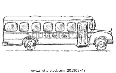 Vector Sketch School Bus Side View Stock Vector 201303749 ...
