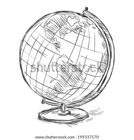Vector Sketch School Geographical Globe - stock vector