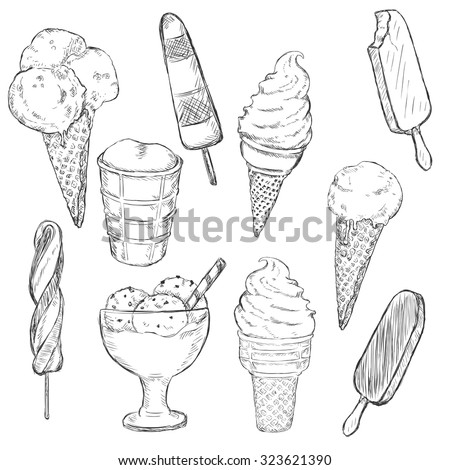 Vector Sketch Set of Ice Cream. Types of Ice Cream - stock vector