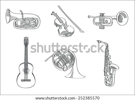 Vector sketch set of musical instruments - tuba, violin, trumpet, guitar, french horn and saxophone - stock vector