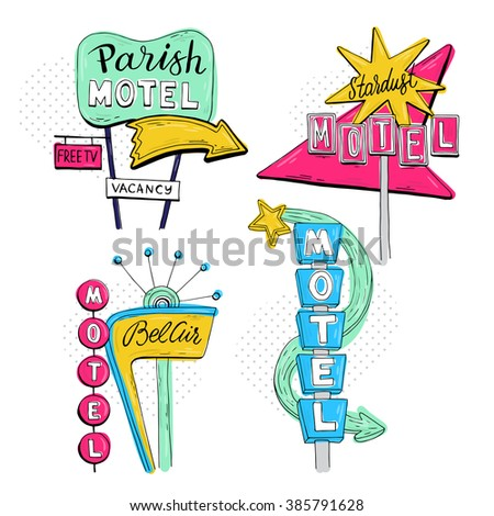 Vector sketch set with motel sign, retro sign/pointer, vintage billboard, bright signboard, vintage neon sign,road trip, colorful old sign, American style for advertising - stock vector