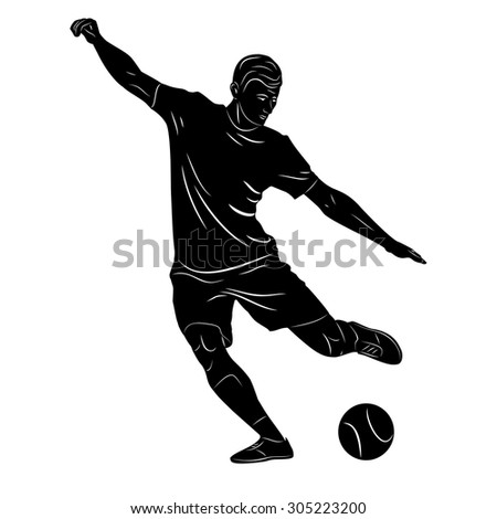 vector sketch soccer player. player shooting.white background - stock vector