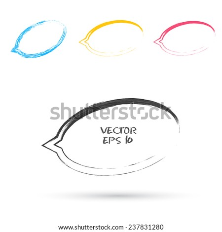 Vector sketch style of speech bubble icons. Design element - stock vector