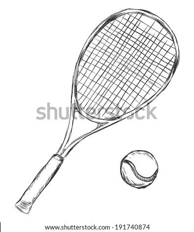 Vector Sketch Tennis Racket and Ball - stock vector
