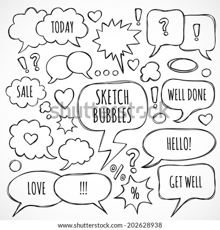 Vector sketch thought bubbles and clouds - stock vector