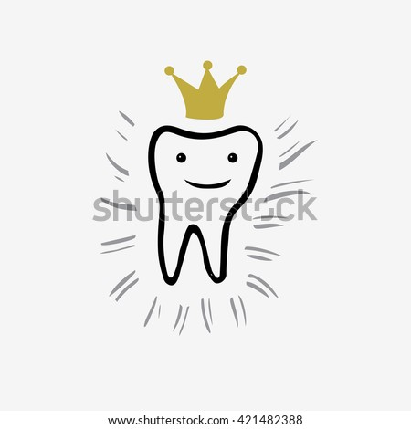 Vector sketch tooth with crown and rays. Tooth hand drawn sketch .Tooth. Icon vector silhouette. Health, medical or doctor and dentist office symbols  - stock vector