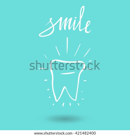 Vector sketch tooth with text smile  and rays. Tooth symbol. Blue backdrop. Tooth. Icon vector silhouette. Health, medical or doctor and dentist office poster. Oral care, dental, - stock vector