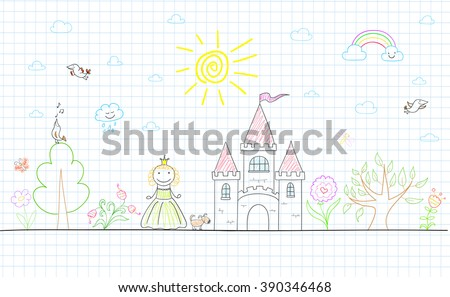 Vector sketch with happy little princess, castle, dog, tree, sun, rainbow, cloud and flowers. Sketch on notebook page