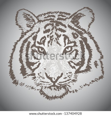 Vector sketched tiger face, half tone elements - stock vector