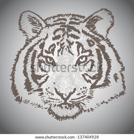 Vector sketched tiger face, half tone elements - stock vector