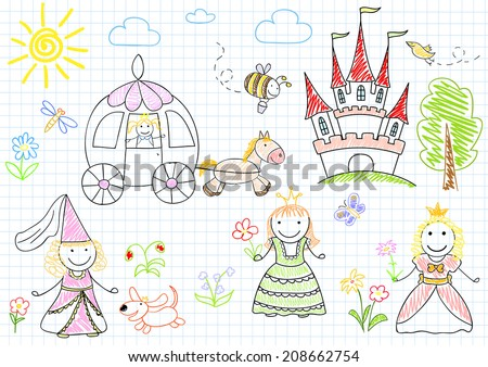 Vector sketches with happy little princesses. Sketch on notebook page - stock vector