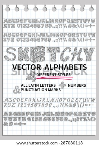 Vector sketchy font with notebook sheet background. Alphabets include letters, numbers and punctuation marks in four different styles - volumetric, handwritten, straight and rounded - stock vector