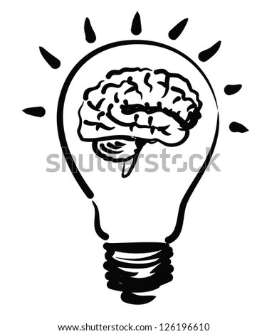 vector sketchy illustration of brain bulb cap on white - stock vector