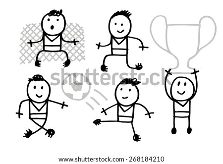 Vector sketchy people and football theme isolated on white - stock vector
