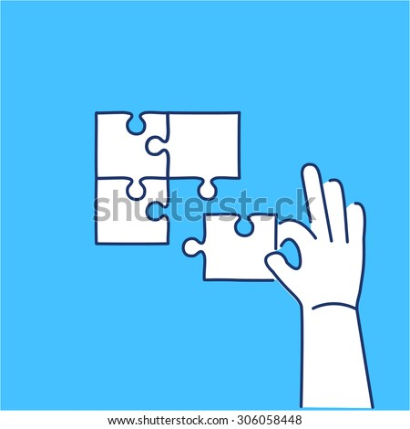 Vector skills icon of building puzzle finding solution | modern flat design soft skills linear illustration and infographic on blue background