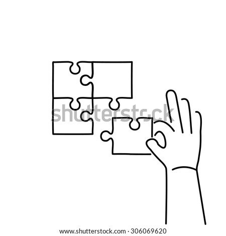 Vector skills icon of building puzzle finding solution | modern flat design soft skills linear illustration and infographic black on white background - stock vector