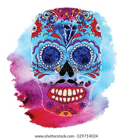 Vector skull color illustration, t-shirt graphics. Day of the dead sugar skull. Mexican skull. Day of the dead skull. Dia de los muertos skull illustration.  - stock vector