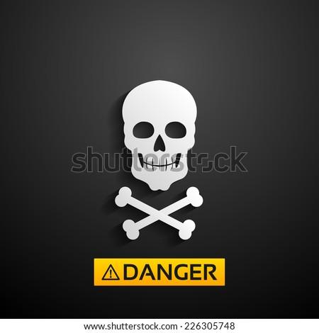 vector skull danger sign - stock vector